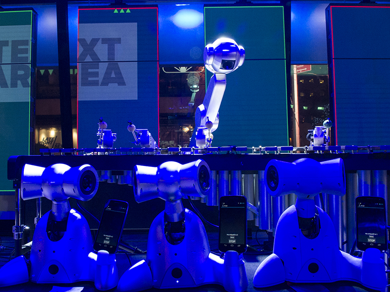 Robotic musicians perform with humans.