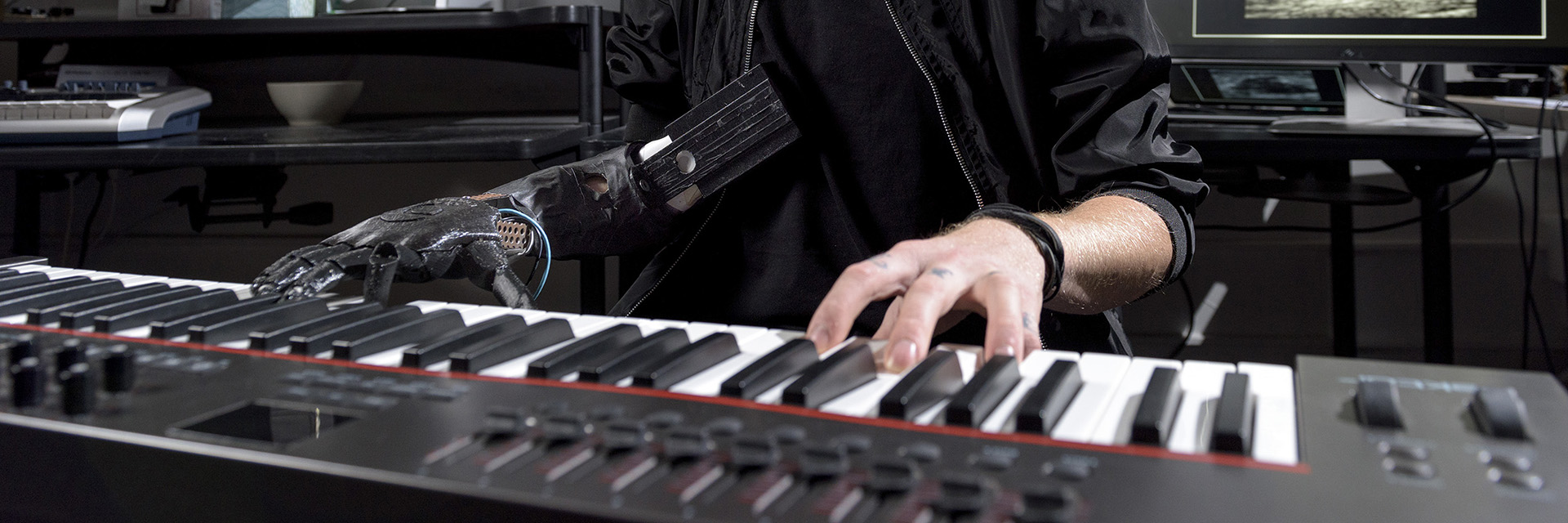 A pianist demonstrates the Skywalker project